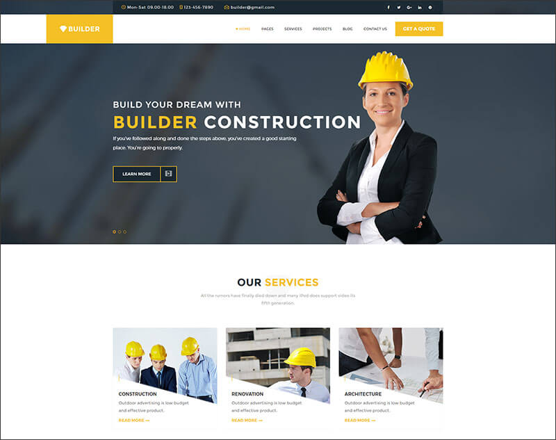 Multipurpose Construction responsive HTML5 Template