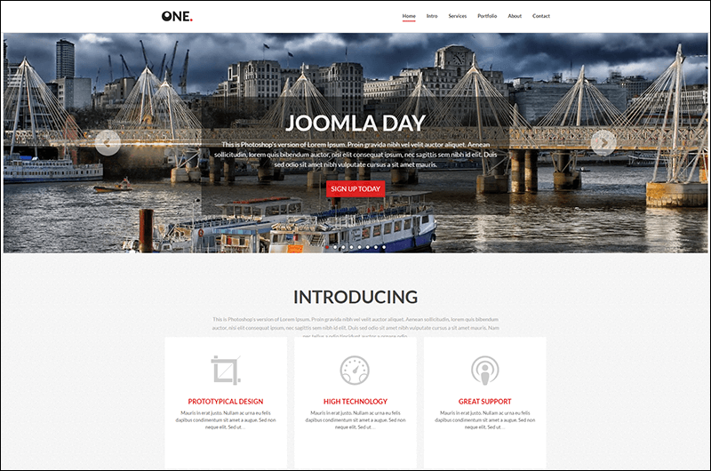 One – Responsive Multi-Purpose One Page Joomla Template