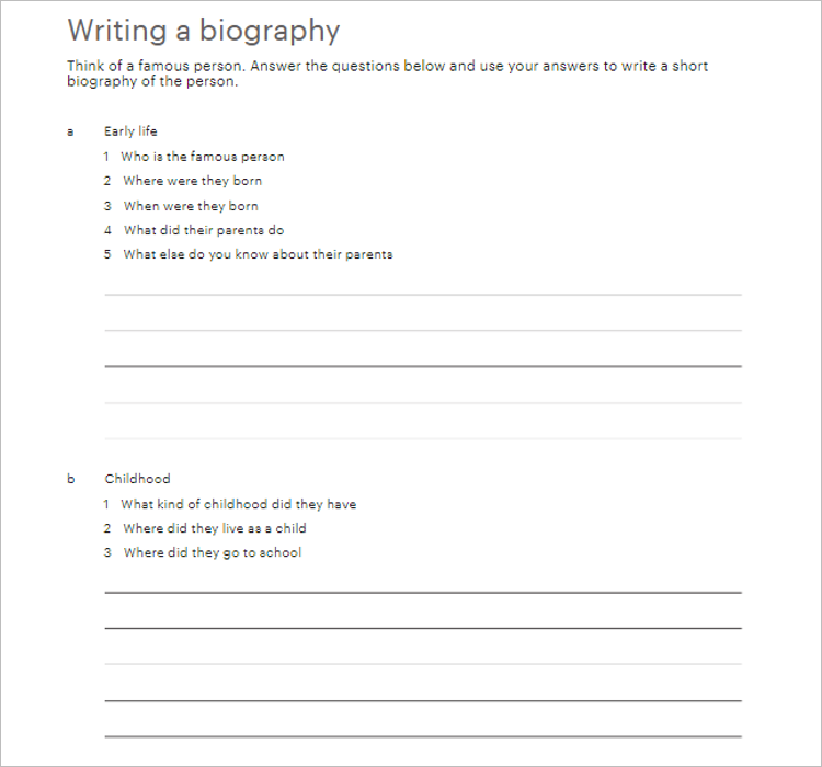 Personal Biography Template