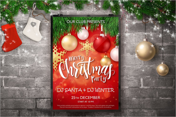 Realistic Christmas Poster Template