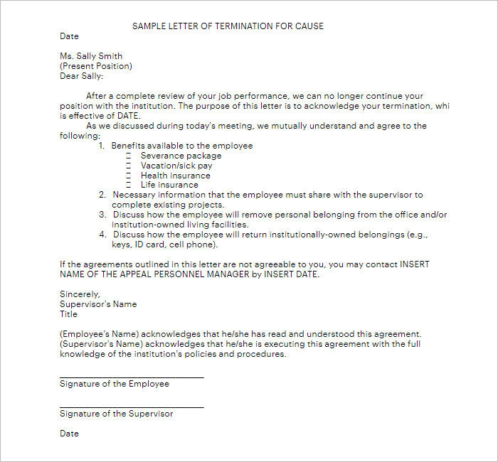 Sample Cause Of Lease Termination Letter Format