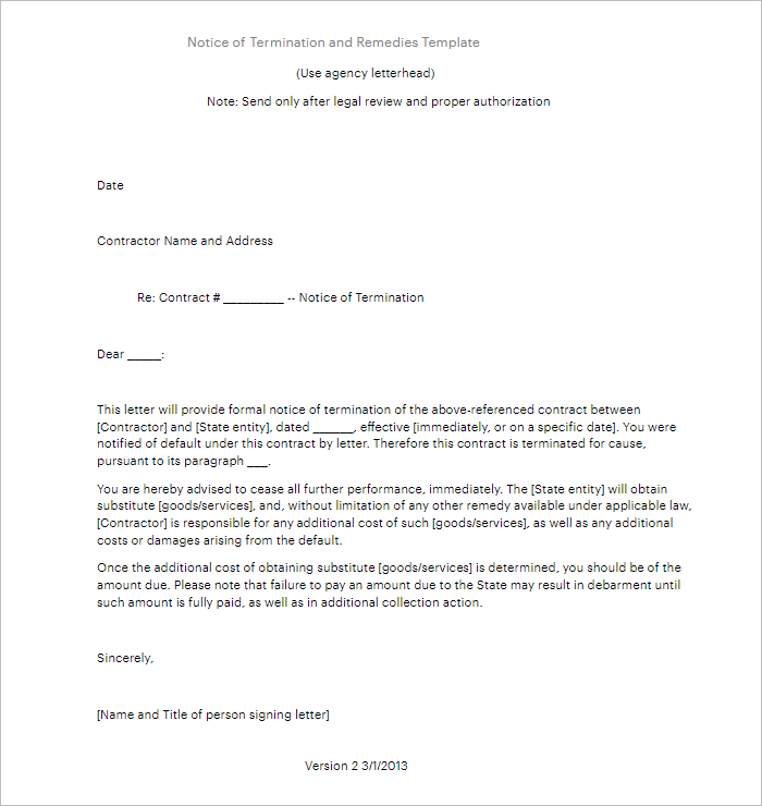 Sample Lease Termination Letter Template