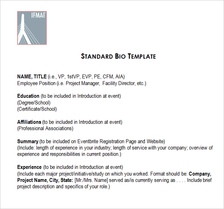 Standard Biography Template Word