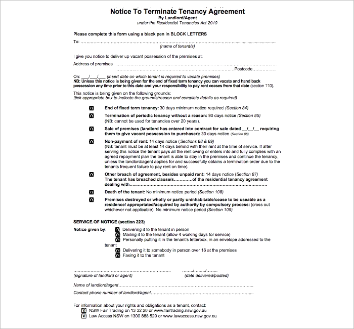 Tendency Lease Termination Letter Template