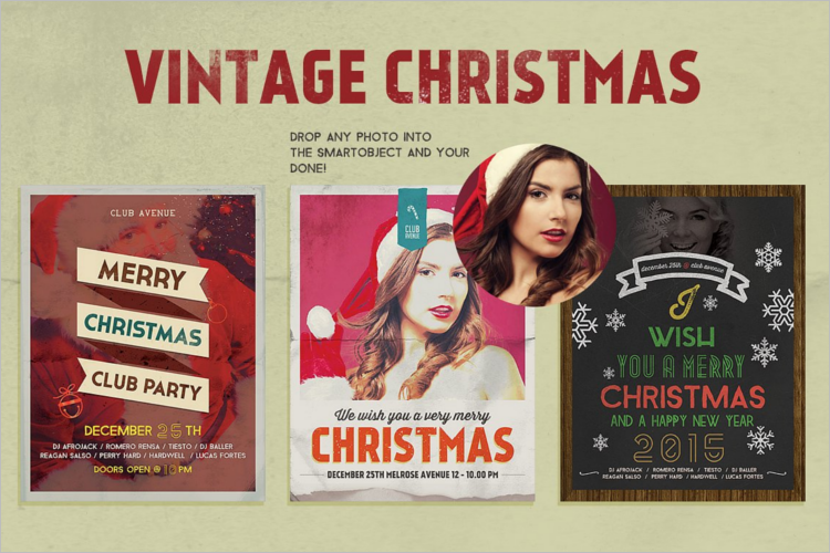 Vintage Christmas Poster Template