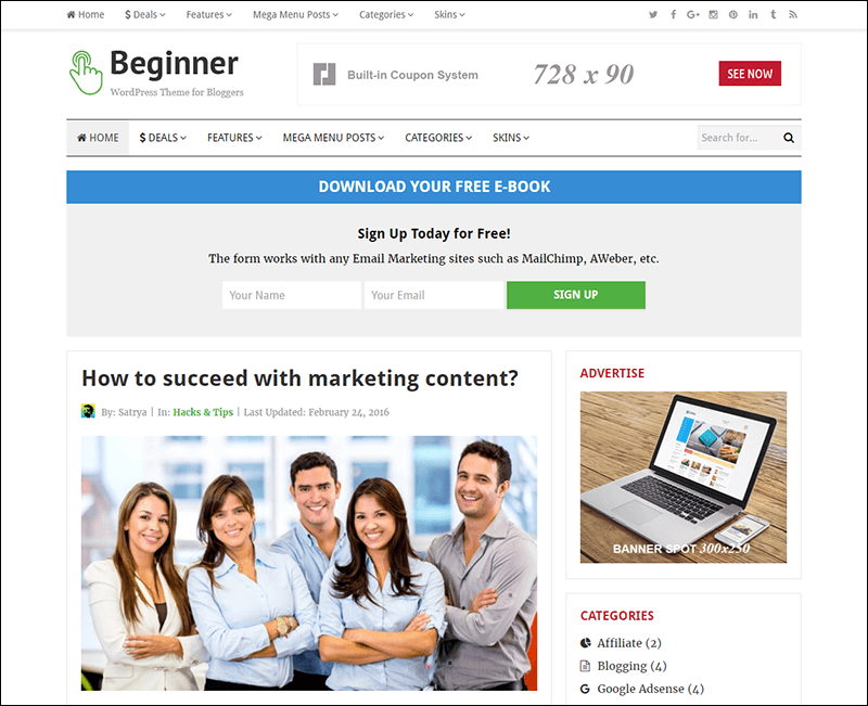 Beginner – Blog and Deals WordPress Theme