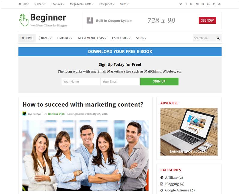 Beginner – Blog and Deals WordPress Theme