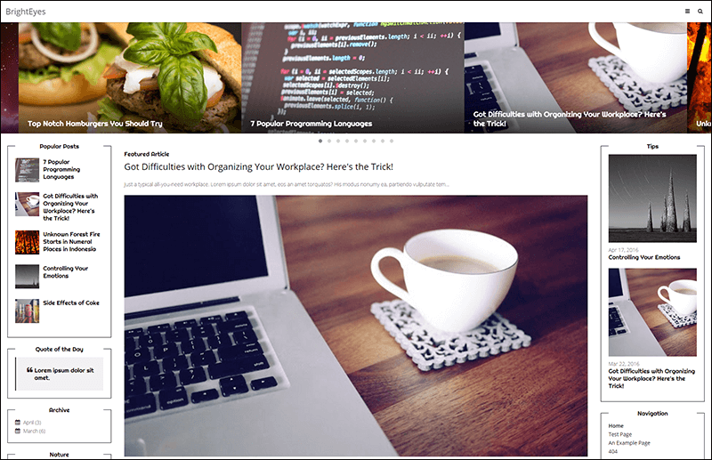 BrightEyes A Non-Cluttered, Responsive Magazine Theme for Blogger