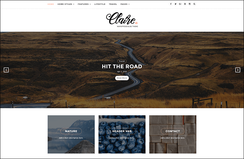 Claire – Elegant & Personal Blog WordPress Theme