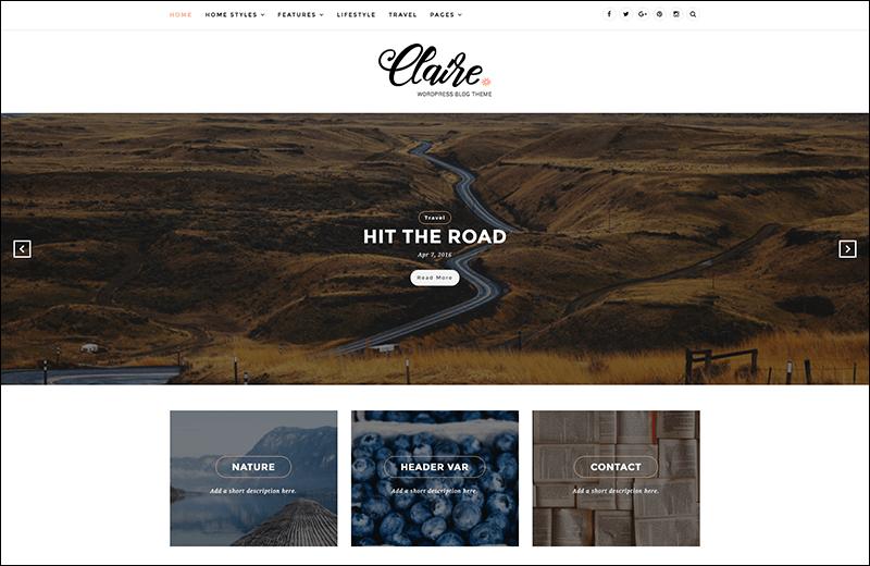 Claire – Elegant & Personal Blog WordPress Theme