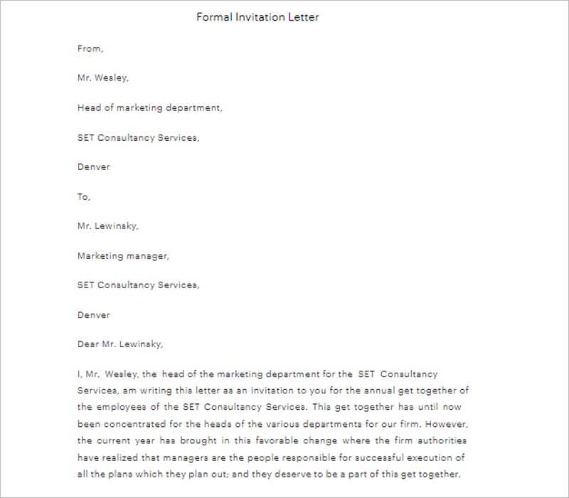 Company Formal Letter Template