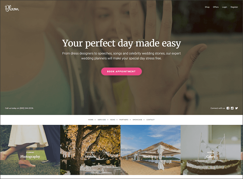 Content included WordPress Wedding Theme