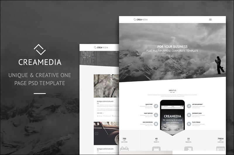 Creamedia One Page PSD Template