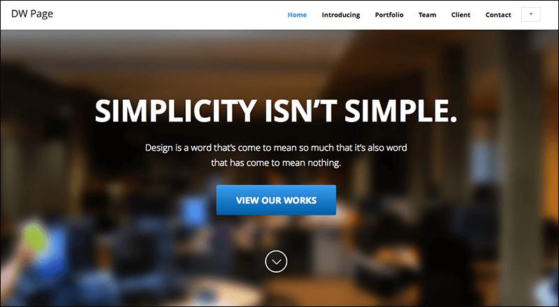 DW One Page Modern - WordPress Theme