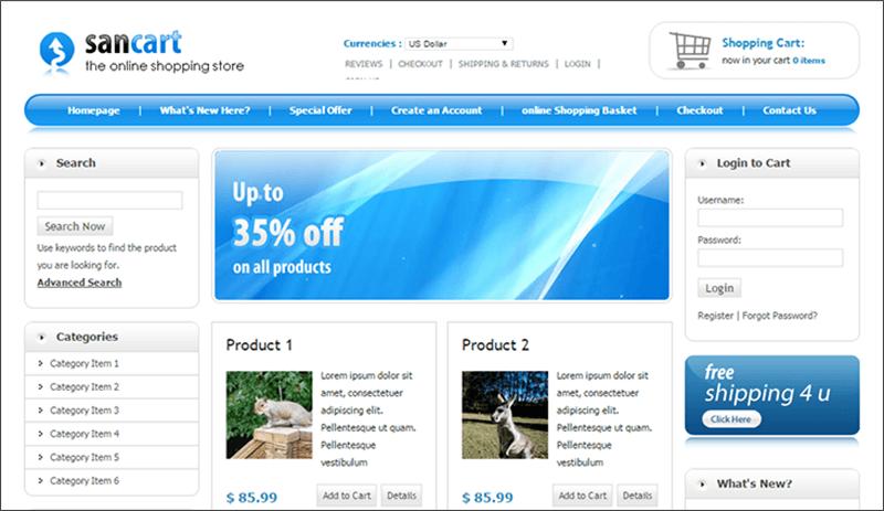 Elegant HTML Shopping Cart Template