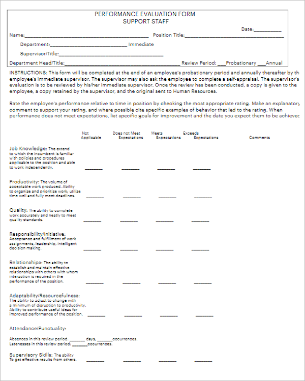 Employee Performance Review Template PDF