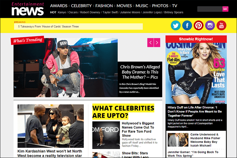 Entertainment News Celebrity Portal