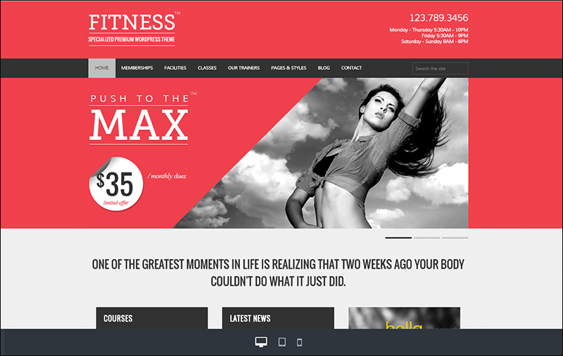 Fitness Premium WordPress Theme