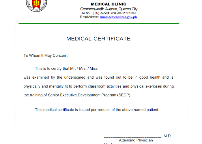 Form Of Medical Certificate Format