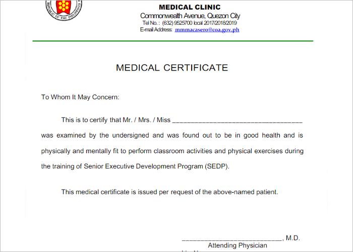 Form Of Medical Certificate Format