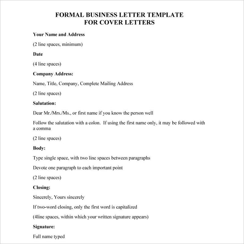 Formal Letter Format Sample