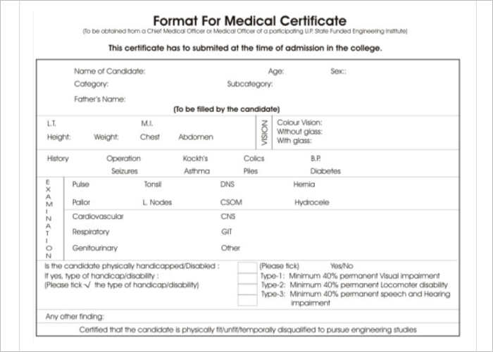 format-for-medical-certtificate-templates