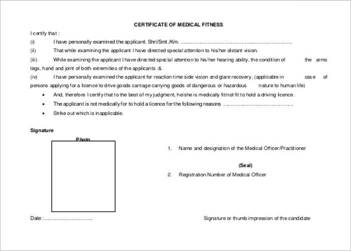 Free Medical Fitness Certificate Templates Form ...  Free Medical Form Templates