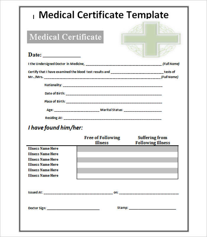 Medical certificate template free word pdf documents creative free medical certificate templates yelopaper