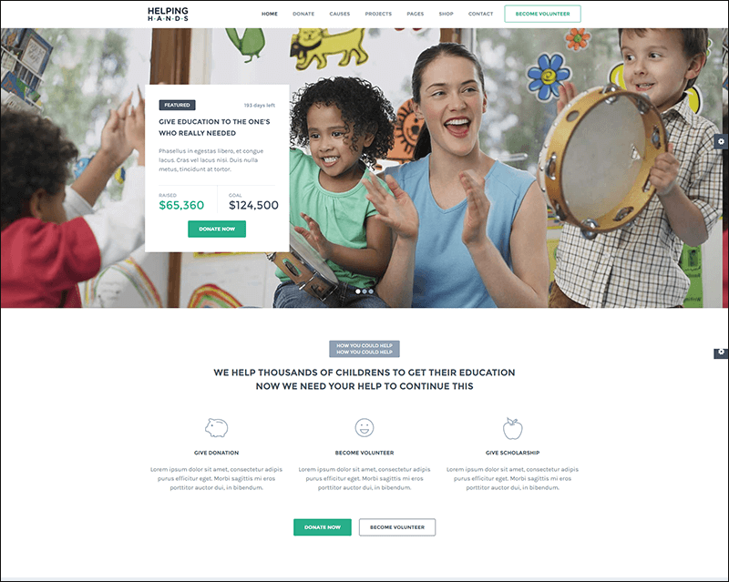 Helping Hands - Charity NonProfit Fund Raising HTML Template