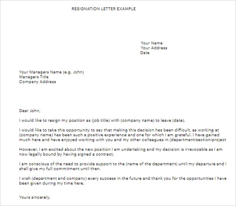 Job Formal Letter Template