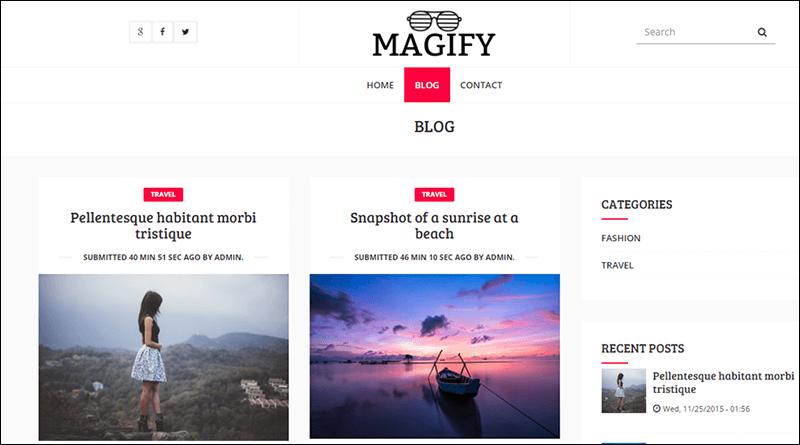 Magify – A Responsive Blog Magazine Theme for Drupal