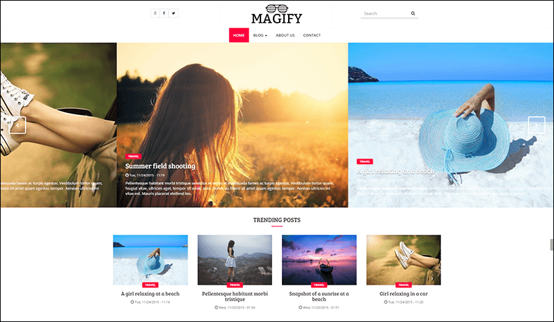 A blog magazine theme