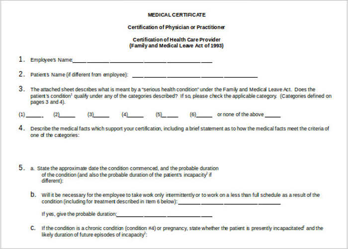 Medical Certificate For Patient  Medical Certificate Format
