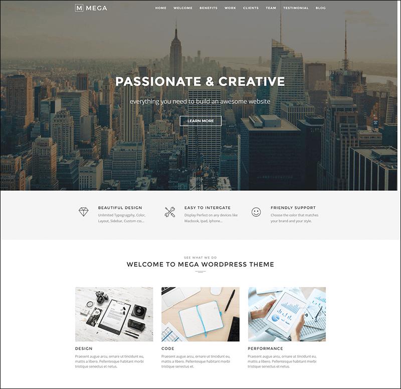 Mega One Page - Creative One Page WordPress Theme