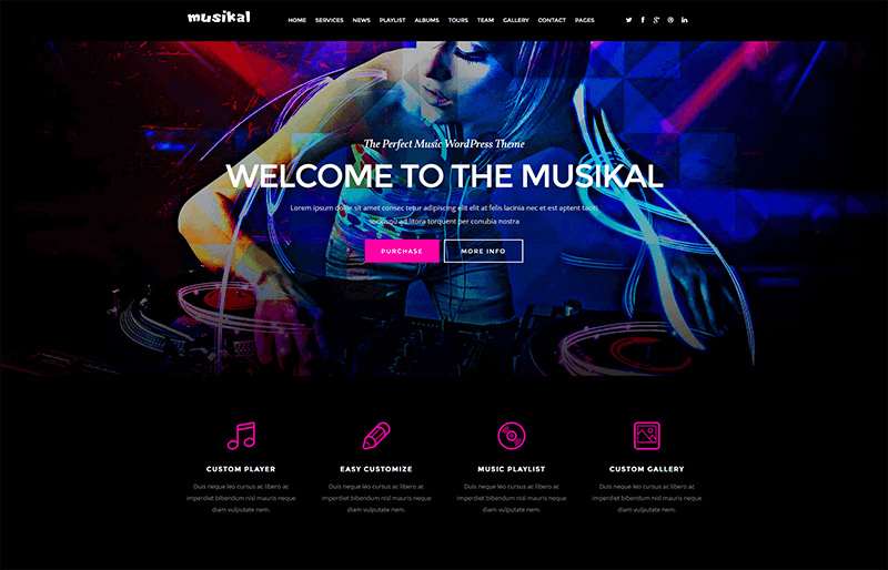 Musikal - OnePage Music WordPress Theme
