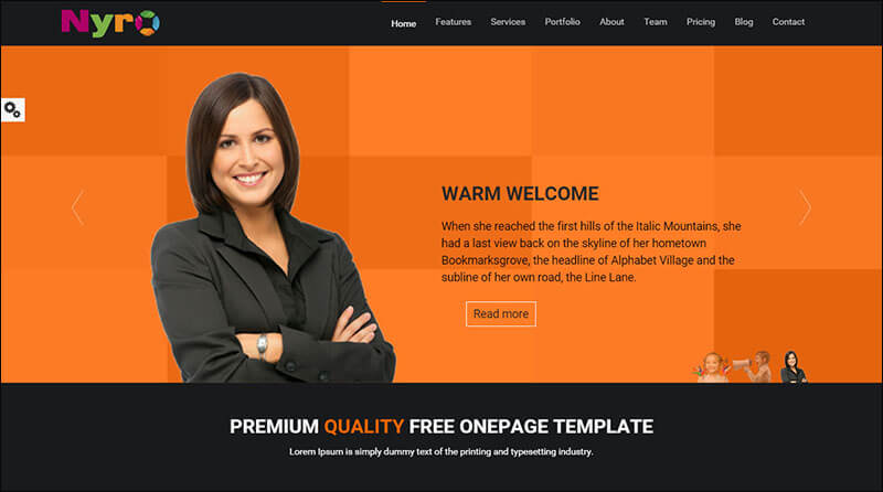 Nyro-Parallax One Page HTML Template