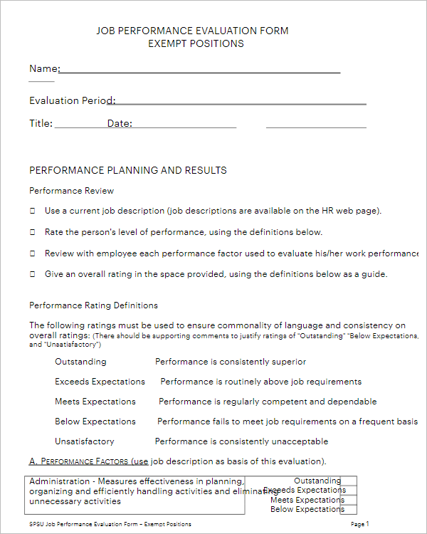 Office Employee Performance Review Form