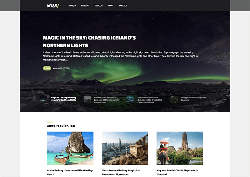 Personal-Travel Blog WordPress Theme