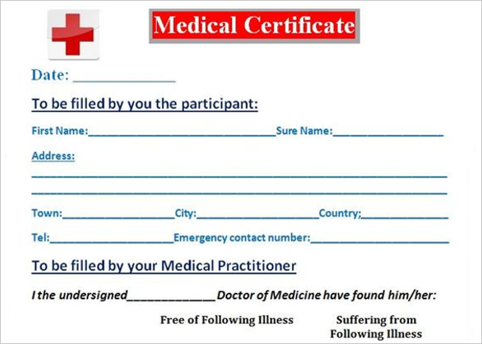 Primary Medical Certificate Template