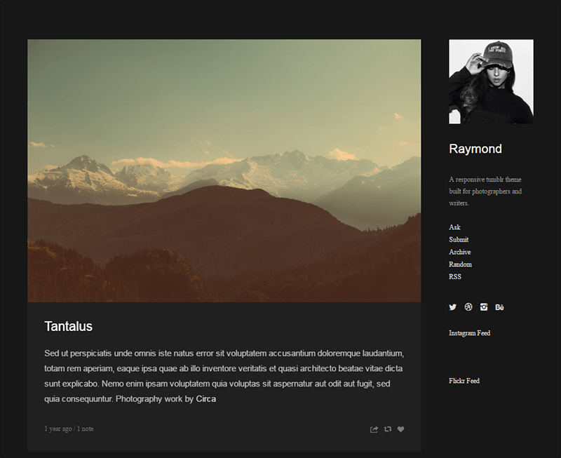 Raymond - Single Column Sidebar Theme