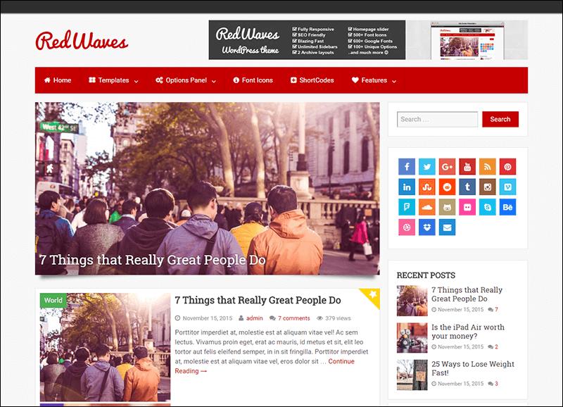 RedWaves – Modern & SEO Friendly WordPress Blog Theme
