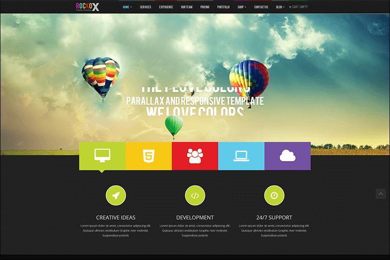RockoX - One Page Parallax Joomla Template
