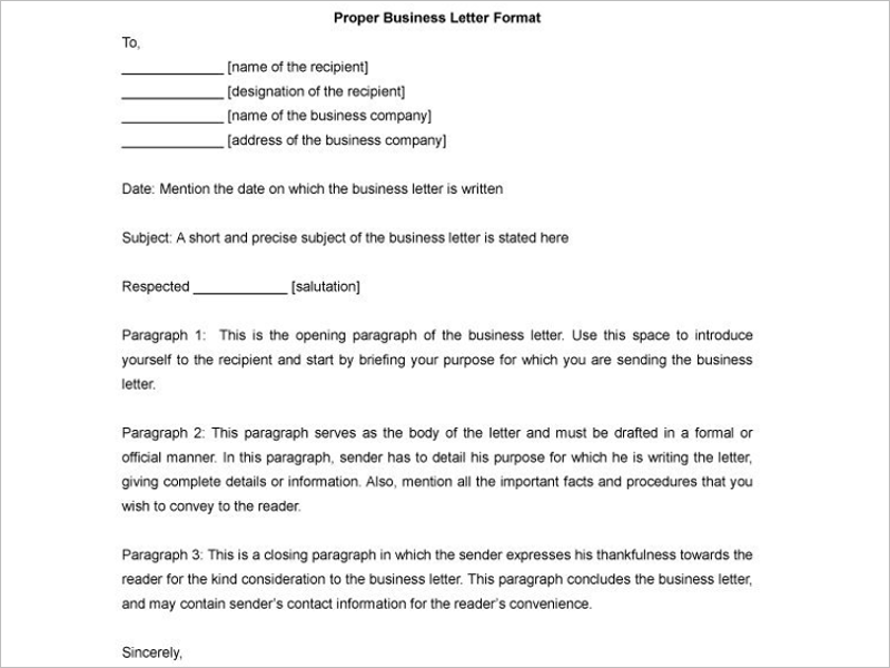 Sample Business Letter Format