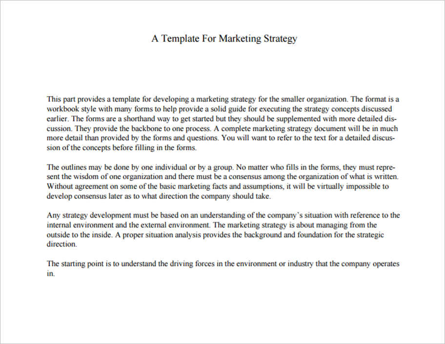 Sample Marketing Strategy Templates ...