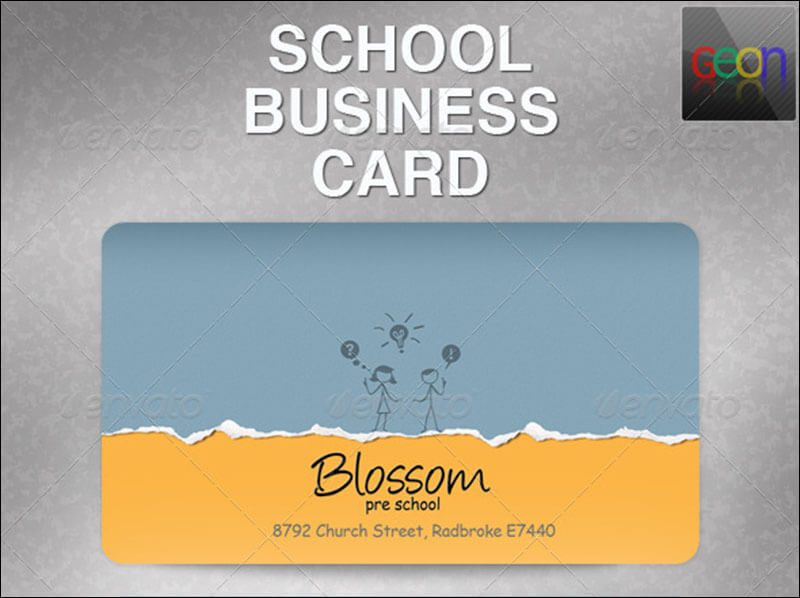 School Business Card, Excellent for Teachers