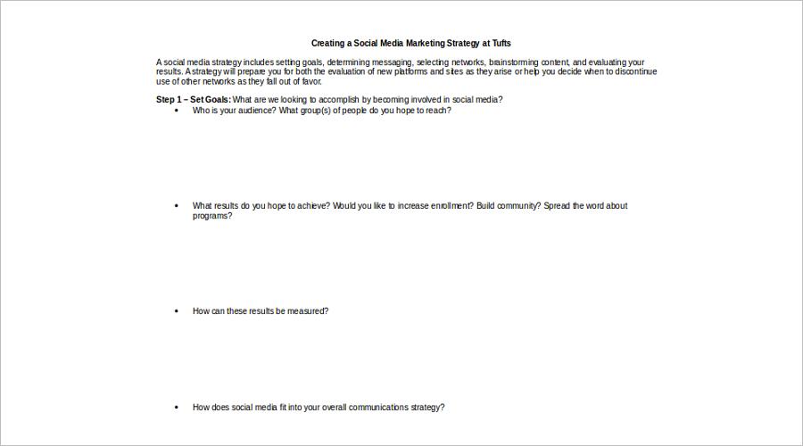 Social Media Marketing Strategy Planning Template