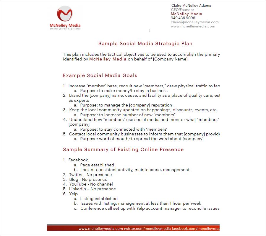 Social Media Strategy Plan Example