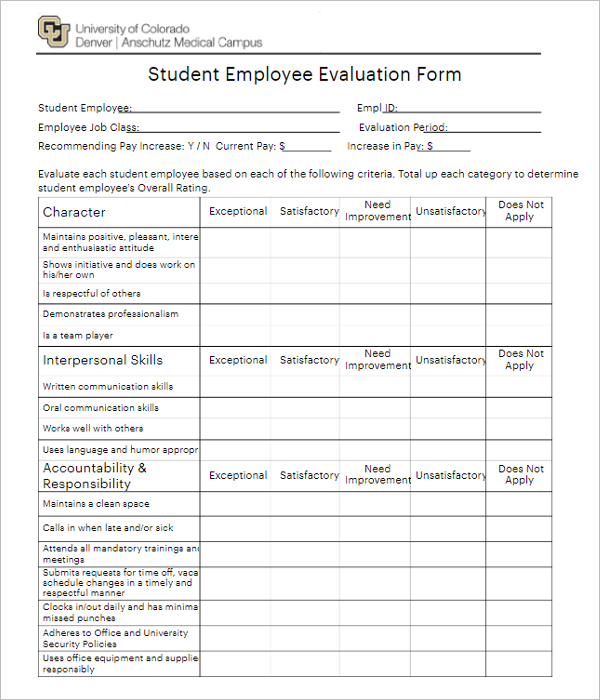 Student Performance Review Template