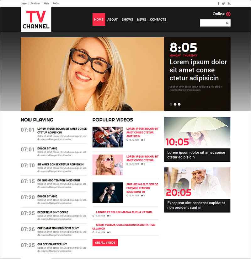 TV Channel Joomla Template