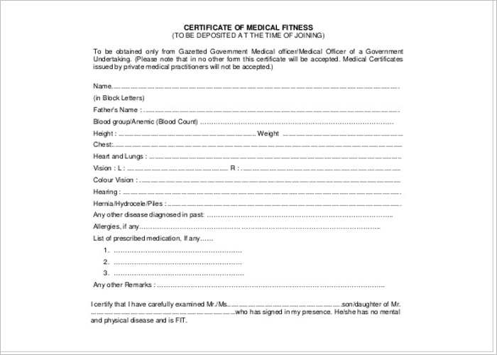 Medical Certificate Template Free Word PDF Documents – Download Medical Certificate